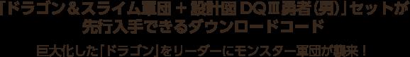 「ドラゴン&スライム軍団+設計図DQⅢ勇者(男)」セットが先行入手できるダウンロードコード 巨大化した「ドラゴン」をリーダーにモンスター軍団が襲来!