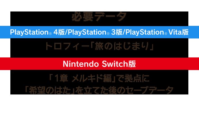 必要データ PlayStation®4版/PlayStation®3版/PlayStation®Vita版:トロフィー「旅のはじまり」 Nintendo Switch版:「1章 メルキド編」で拠点に「希望のはた」を立てた後のセーブデータ