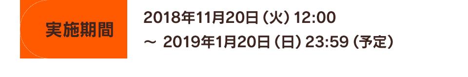 実施期間 2018年11月20日(火)12:00~2019年1月20日(日)23:59(予定)