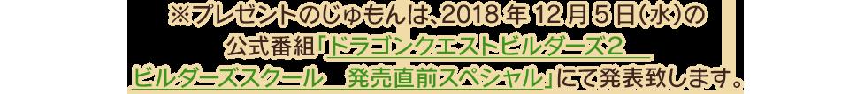 ※プレゼントのじゅもんは、2018年12月5日(水)の公式番組「ドラゴンクエストビルダーズ2 ビルダーズスクール 発売直前スペシャル」にて発表致します。