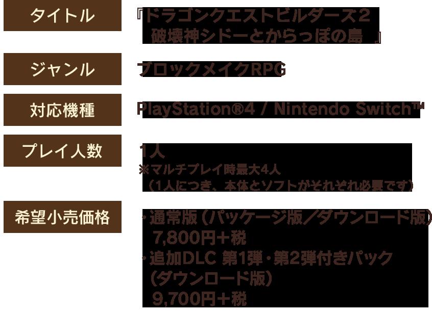 【タイトル】『ドラゴンクエストビルダーズ2 破壊神シドーとからっぽの島』 【ジャンル】ブロックメイクRPG 【対応機種】PlayStation®4 / Nintendo Switch™ 【プレイ人数】1人 ※マルチプレイ時最大4人(1人につき、本体とソフトがそれぞれ必要です) 【希望小売価格】・通常版(パッケージ版/ダウンロード版) 7,800円+税 ・追加DLC 第1弾・第2弾付きパック(ダウンロード版) 9,700円+税 【発売日】2018年12月20日(木) 【CERO】A